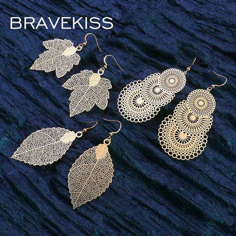 BRAVEKISS Retro-Blatt-Form-Tropfen-Ohrringe für Frauen Jahrgang Bohomia Boho Ausgehöhlte Modeschmuck Accessoires New 2020 PE1520