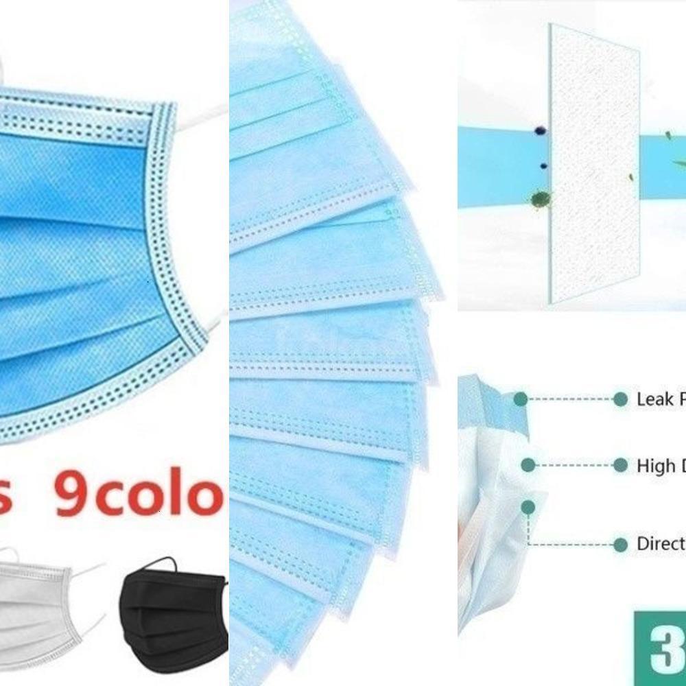 50/100 / piezas multicolores de 3 capas de tela a prueba de polvo desechable boca cara Máscaras Earloop máscara protectora 50pcs / caja azul sMRG5