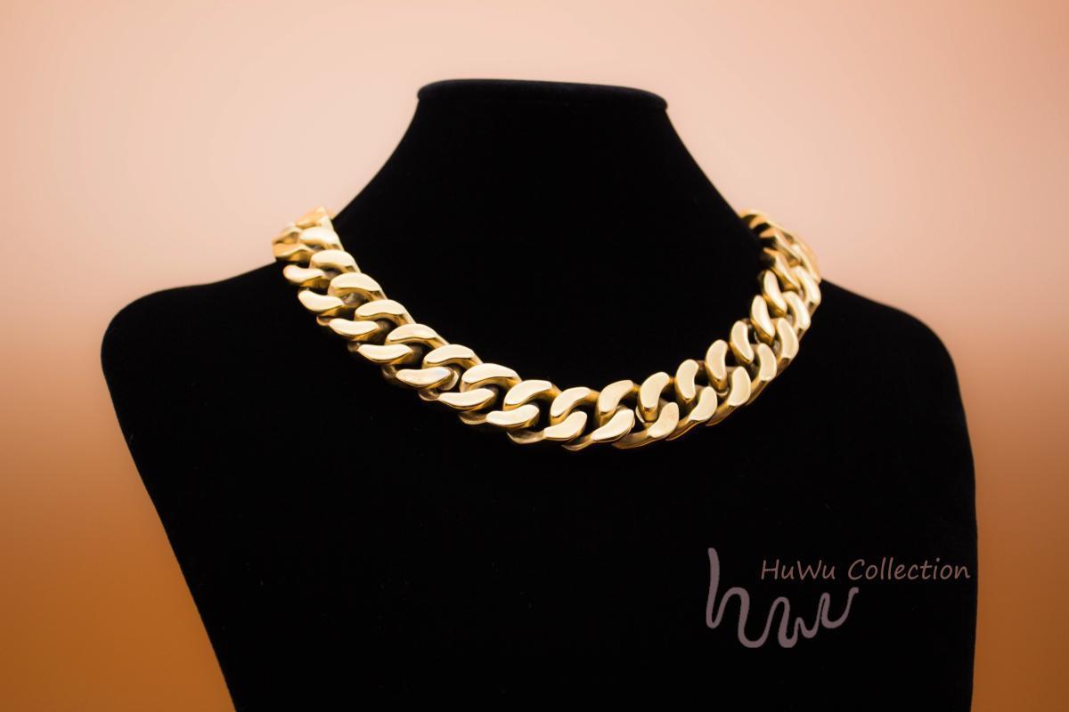 HuWu itibaren Trendy Sonbahar Kış 24 k Benzersiz Moda kolye G eski Kaplama ağır zinciri için Değerli Altın Büyük Küba Zincir gerdanlık