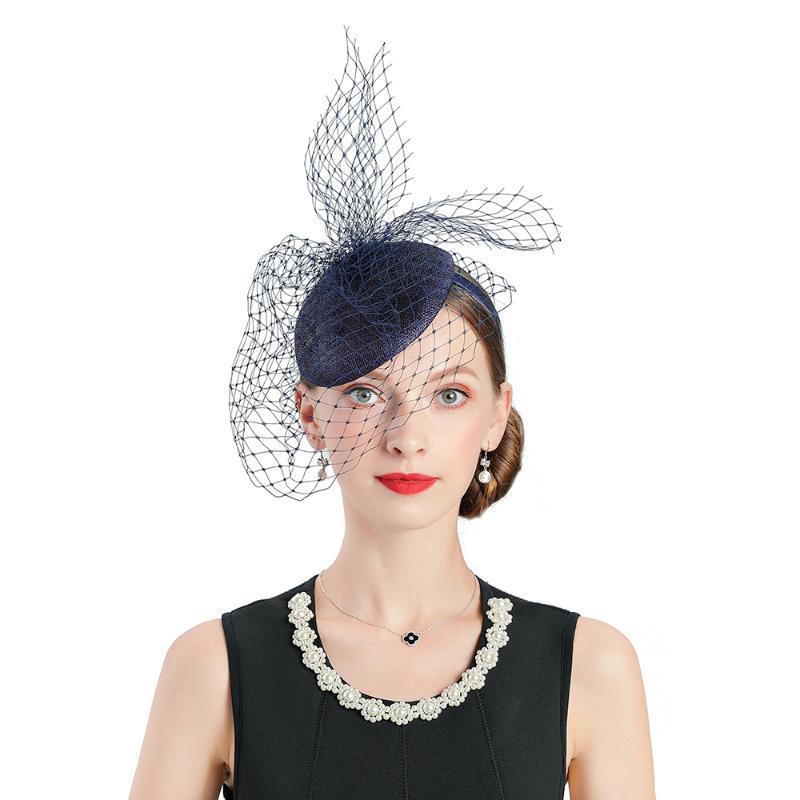 Fascinator Chapeaux pour femmes Bleu élégant Fedoras Cap mariage Femme Chapeau bibi Voile Chapeau Banquet Cocktail Headwewar G