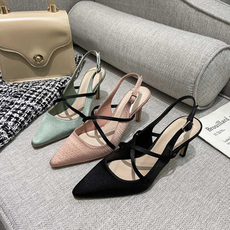 kmeioo zapatos de moda de verano mujer en punta del dedo del pie de tacones altos zapatillas abiertas sandalias de las bombas de nuevo la correa ocasional concisa tacones de aguja fina