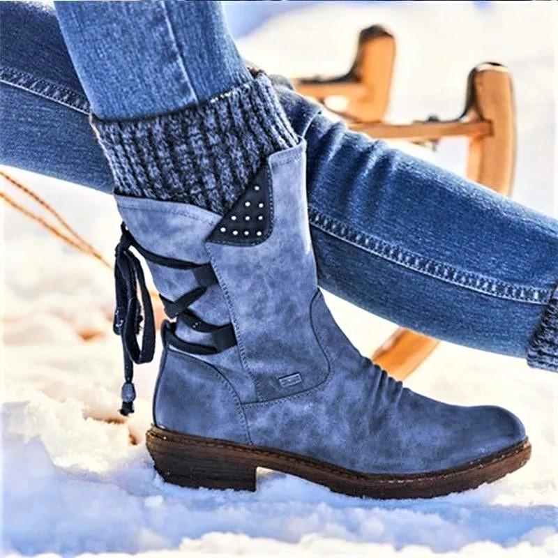 BLWBYL Price with Best Quality and Free Gift - Women Boots winter autumn girls Flat Heel Boot Fashion Knitting Patchwork shoes 200916