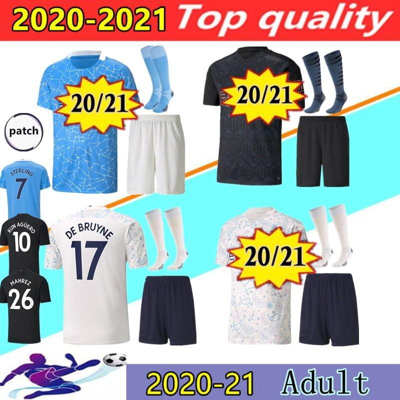 20 21 도시 축구 유니폼 키트 2020 2021 남자 스털링 축구 셔츠 맨체스터 Kun Aguero de Bruyne Gesus Bernardo Mahrez Rodrigo Kits