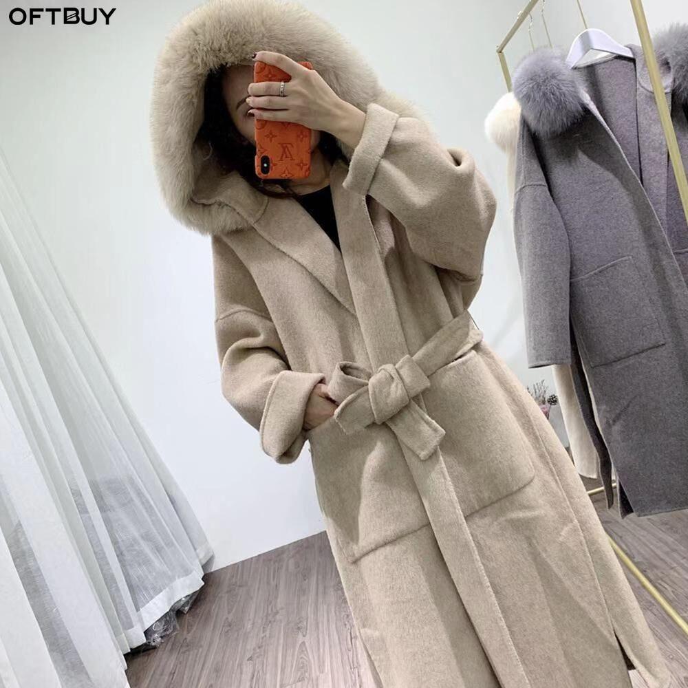 OFTBUY 2020 Manteau de fourrure réel Veste d'hiver Femme col de fourrure de Fox naturel Bois Laines Cachemire x-Long-vêtement Streetwear Corée T200908