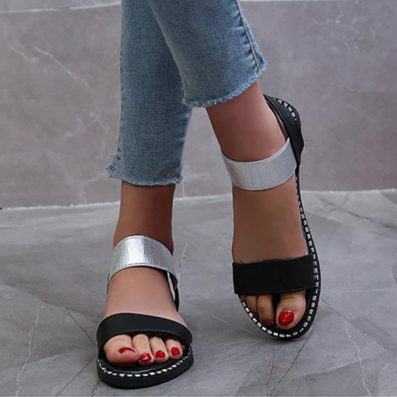 2020-Sommer-Frauen-Sandelholz-Frauen-Dame-elastische Band-Wohnungen Mode Rom Nähen Schuhe öffnen Toe Damenschuhe in Übergrößen