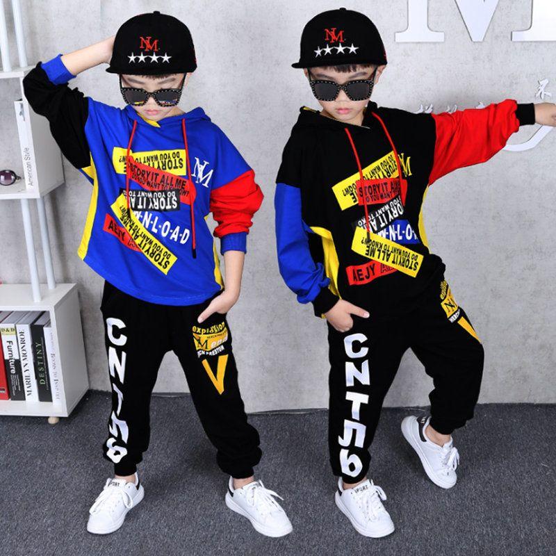 Autumn Boy Bekleidung Anzug 2 Stück Anzug mit Kapuze + Pants Sets große Jungen Sportwear Sets Anzug Outwear Hoodie 6 8 10 12 14 Jahre X0923