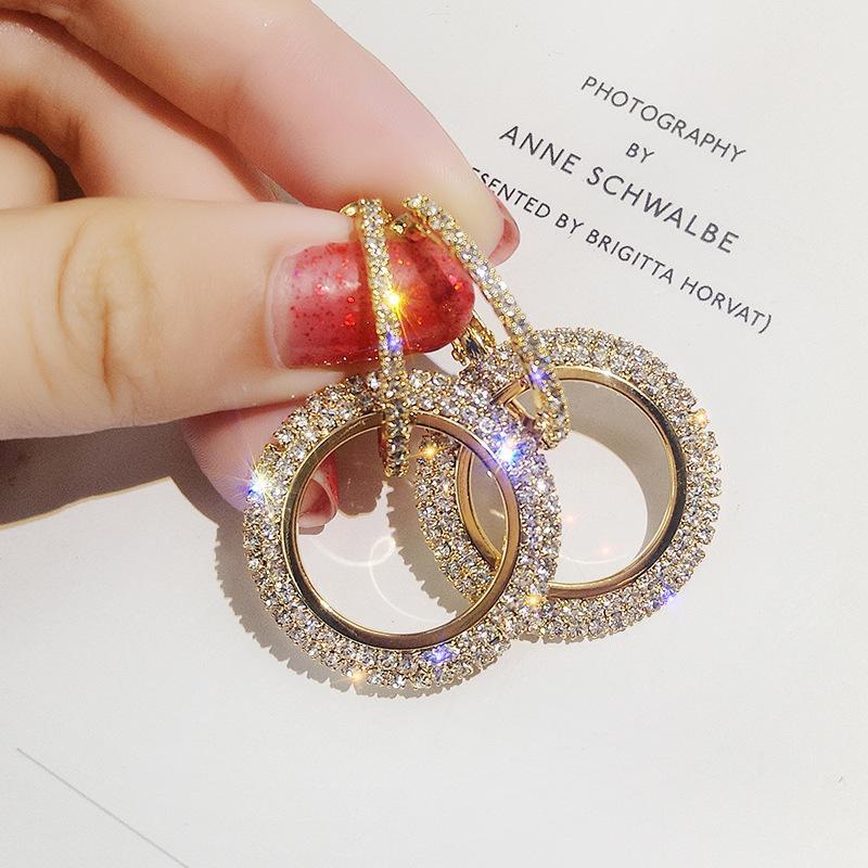 Cristal pendientes del Rhinestone hueco geométrica Círculo de la gota pendiente del metal de la joyería brillante del oído para la Mujer