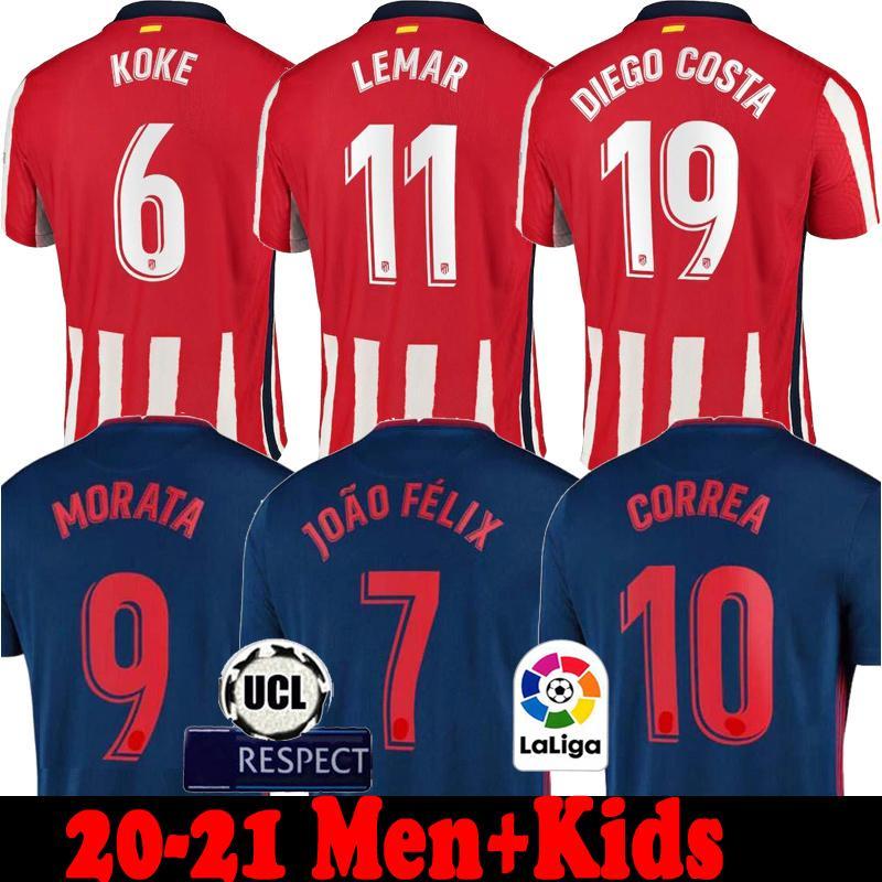 اتلتيكو مدريد 20 21 كاراسكو الرجال + أطفال كرة القدم جيرسي JOAO FELIX 2020 2021 رينان ودي camiseta Trippier موراتا SAUL KOKE كرة القدم قمصان عدة