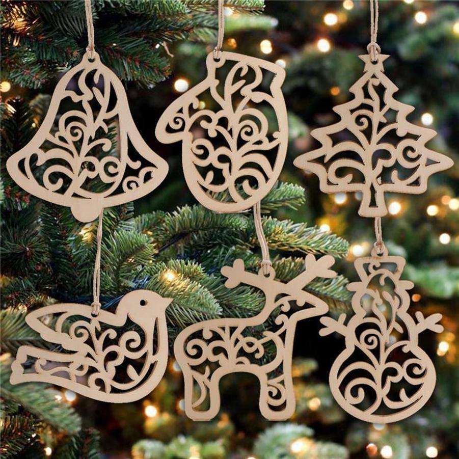 선물 FY7173 매달려 6PCS / 팩 크리스마스 편지 나무 심장 버블 패턴 장식 크리스마스 트리 장식 홈 축제 장식품