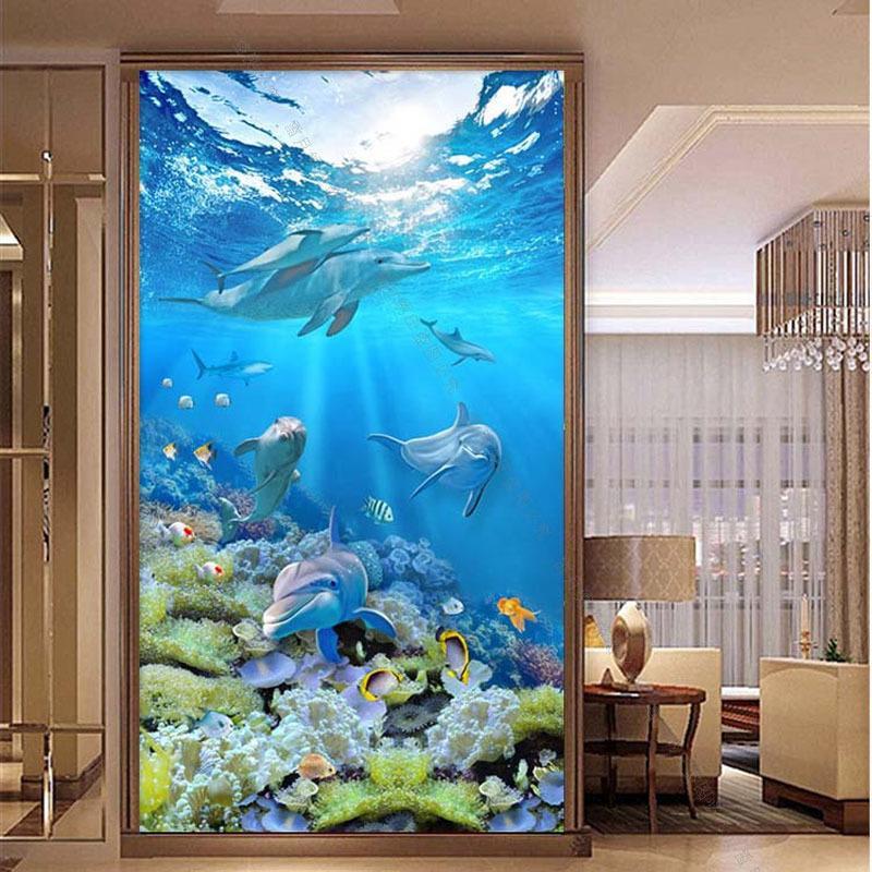 Personalizado 5D Dolphin Underwater World Painitnng Stitch, taladro completo, bordado de diamante de bricolaje, costura de mosaico, decoración de pared