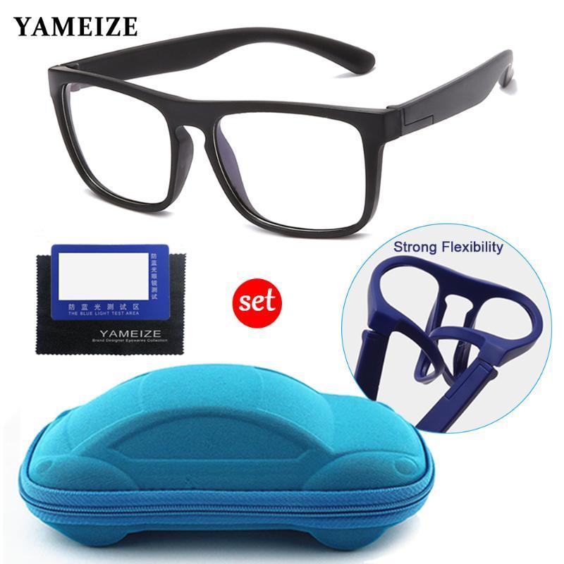 Дети Анти-синего свет очки Детей площадь Оптический Frame Eyeware Компьютер стекло Силиконовые Мягкие очки с очками автомобили Box
