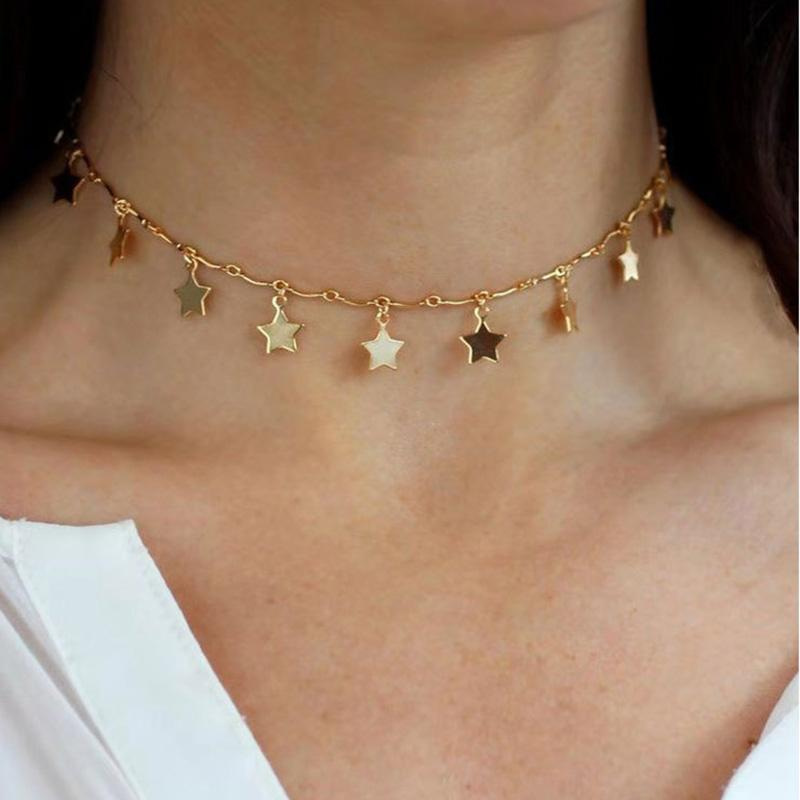Простые женщины Pentagram ключицы цепи Ночной клуб партии Дамы Подвеска ожерелья богемские девушки ожерелье для подарка дня рождения