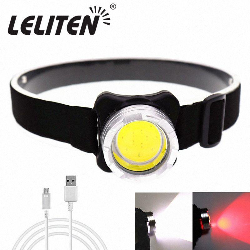 Damla Nakliye USB Şarj Edilebilir Far Mini Taşınabilir Far Meşalesi Kafa Lambası Var Pil Kırmızı / Beyaz LED Far yürüyüş Başkanı TAQH #
