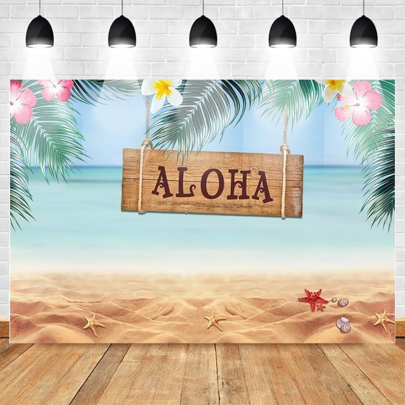 Mehofoto Hawaiian Aloha Themed Party Backdrop Tropical Summer Seaside Beach Sunbathing Background Birthday Party Backdrops