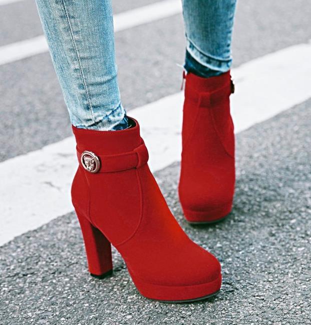 boyut 33-43 rahat ayak bileği botlar mavi kalın topuk platformu tasarımcı boots001 kırmızı