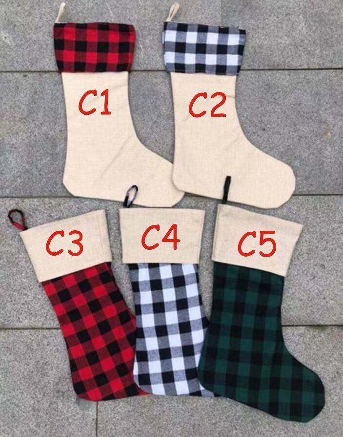 Kırmızı Ekose Noel Stoklama Pamuk manda Fanila Siyah Noel çorap Noel Dekor Poly süblimasyon boşlukları Santa Çoraplar 777