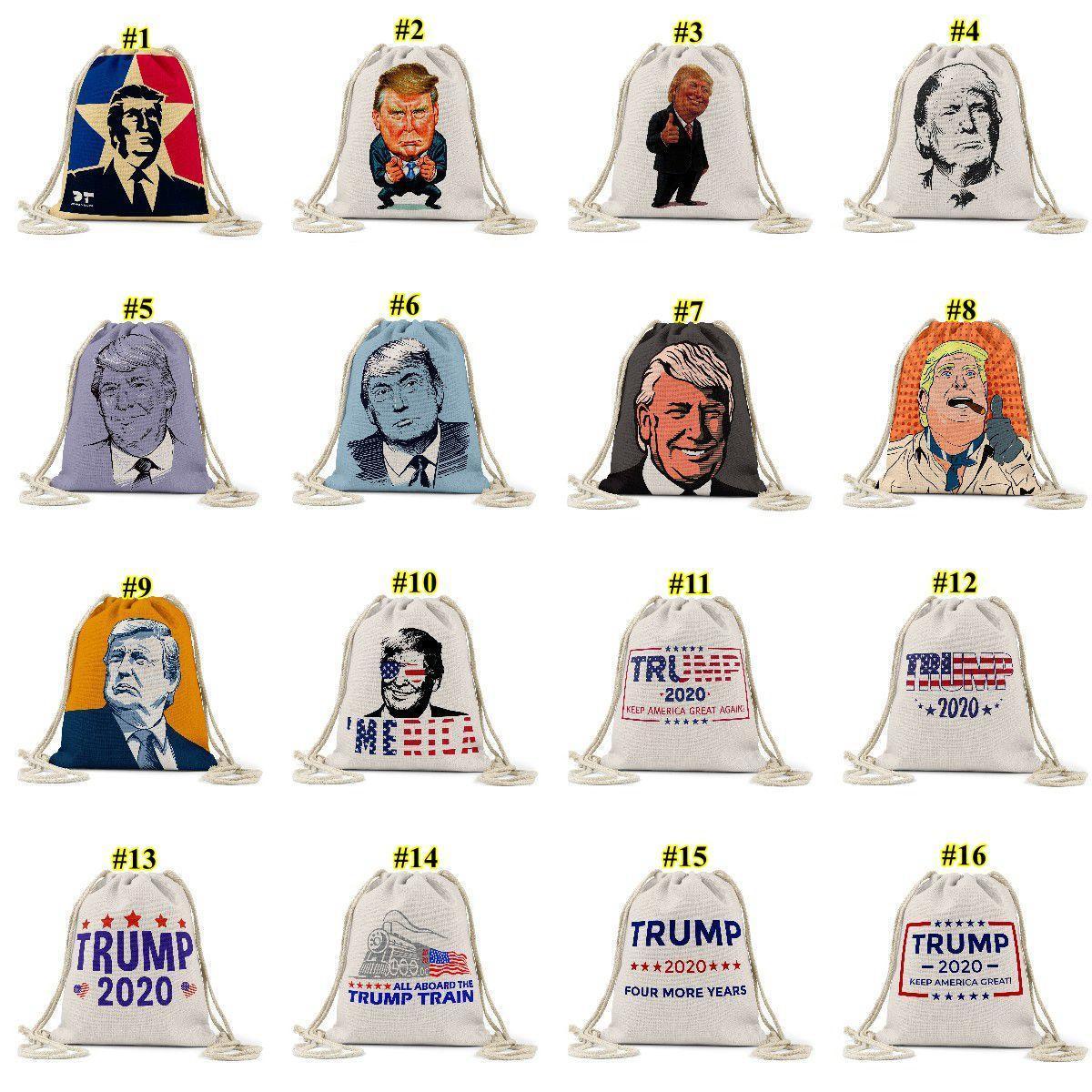 ترامب التعادلات حبل حقيبة الرئاسية الأمريكية الانتخابية الرابحة مطبوعة نمط التسوق التخزين في الهواء الطلق حقيبة الظهر الرباط الجيب DHE641