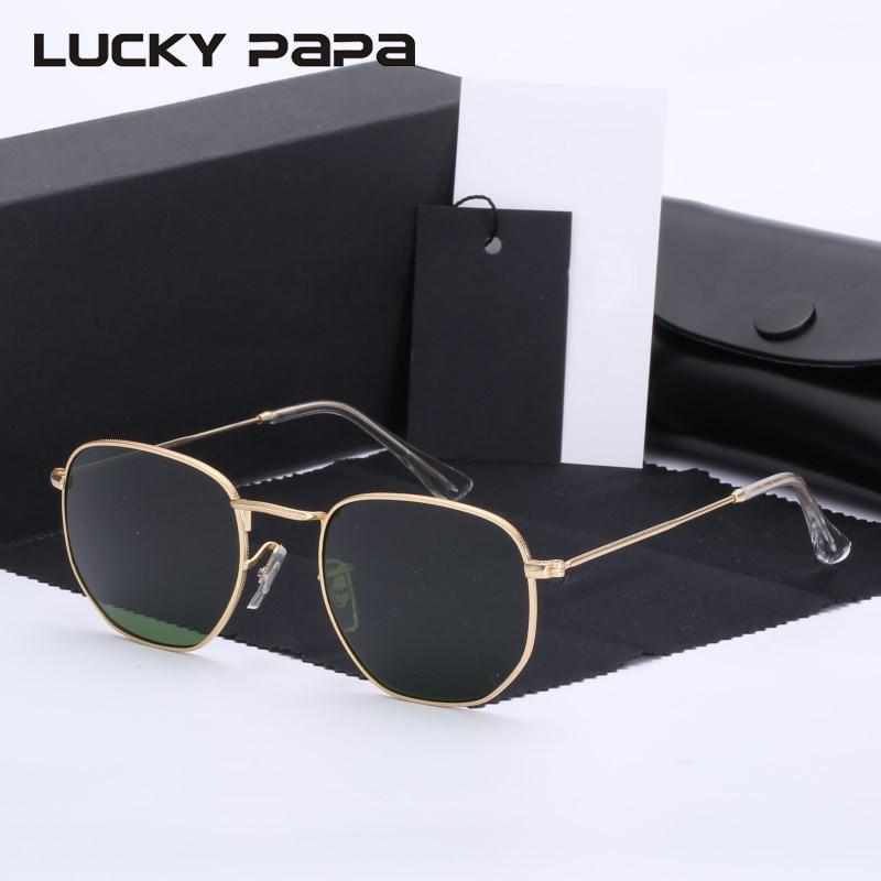 obiettivo di vetro G15 Classic retro occhiali da sole esagonali uomini donne occhiali da sole tondo Vintage Occhiali UVB 3548
