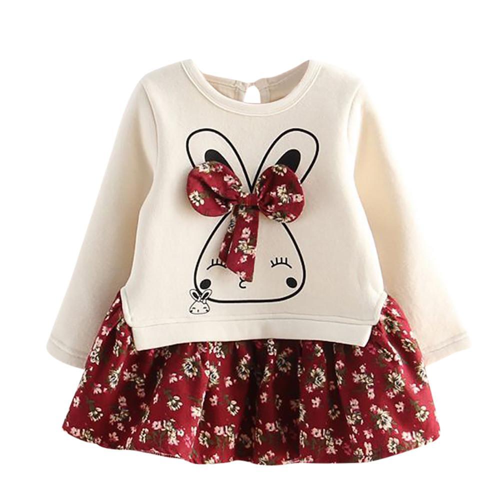 New Costume Kids Cartoon Rabbit Bunny Floral Print Princess Party Dress Infant Toddler Baby Kids Girls Dress children designer clothes girls