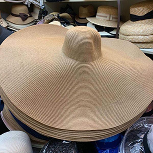 Super Bigger Brim Large chapeaux de paille pour les femmes Pliable papier de plage Chapeau d'été soleil UV cru chapeaux stade Cap Dropshipping gros