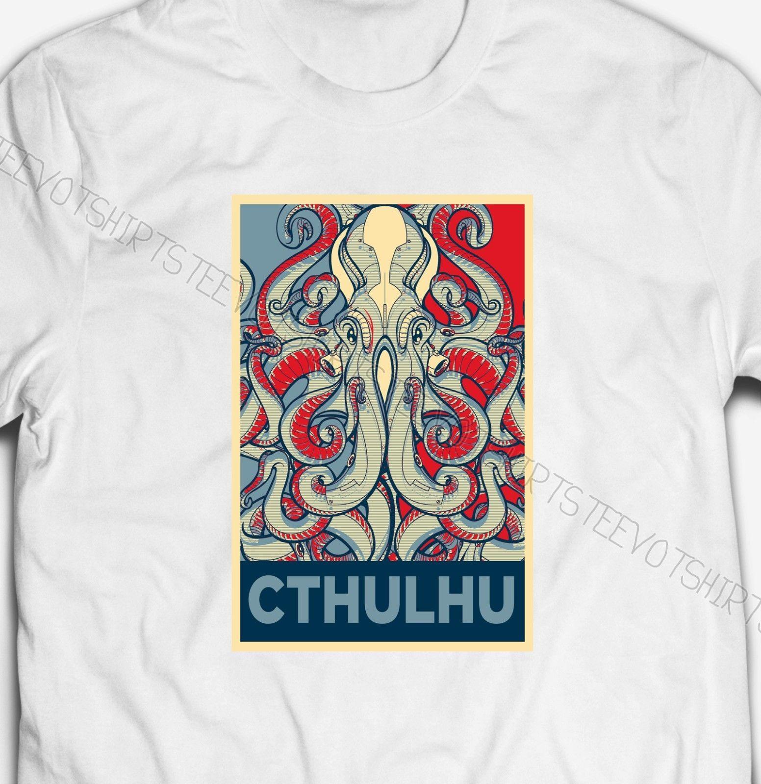 Cthulhu H.P Lovecraft carattere 100% cotone da uomo Speranza poster Parodia 2019 nuove camice di marca-Abbigliamento Cotone Graphic T