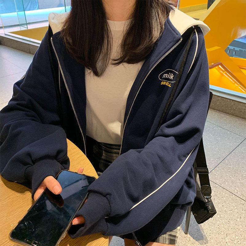 한국어 인 스타일의 인쇄 여성 후드 코트가 느슨한 재킷 지퍼를 따뜻하게 2 색 여성 겨울 코트가 200,917을 여자 탑