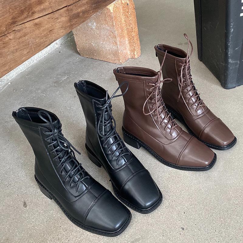 Зима 2020 Мода Женщины Низкие каблуки Ботильоны конструктора Узелок Boots Vintage Lady Мягкая кожа Молнии плоские туфли