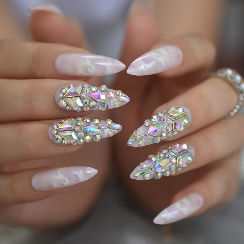 Lindo Luxo Press On Nails extra Marble Longa Light coloridas de cristal do falso Ongles com grande festa perfeita AB Rhistones