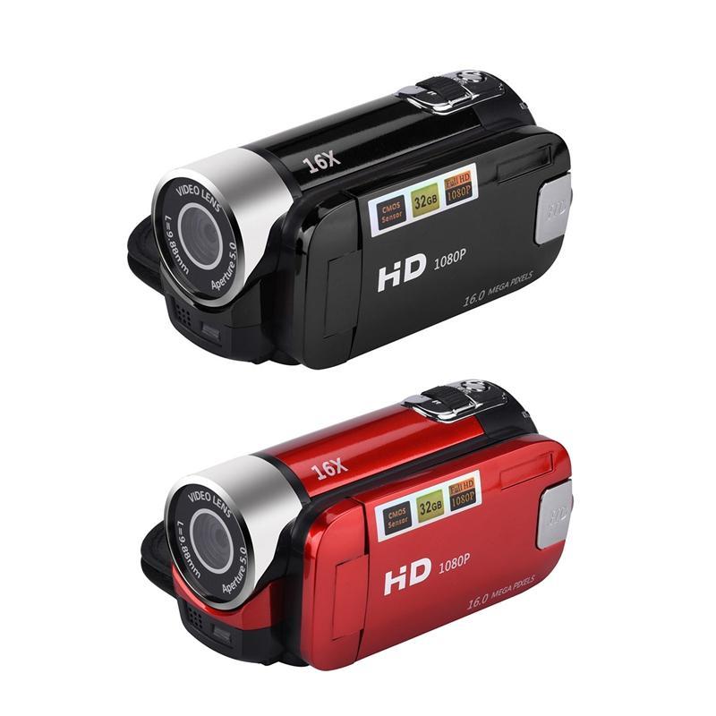 2Pcs 2.4 Inch TFT Sn 16X Digital Zoom DV 1080P Handheld Digital Camera Cmos Sensor Up To 32 GB SD - Black & Red