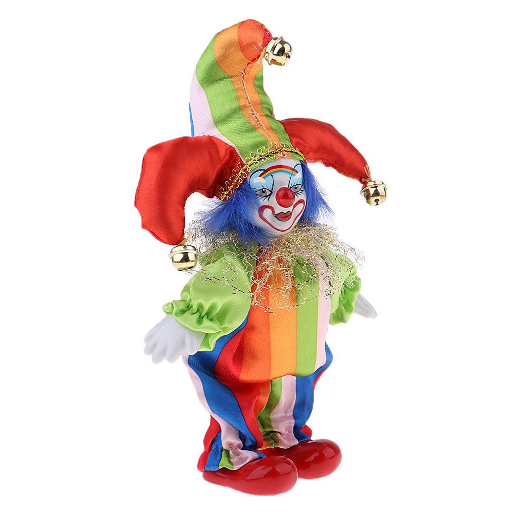 6inch Divertente Bambola del pagliaccio Uomo che porta vestito variopinto costume di Halloween Ornament # 4