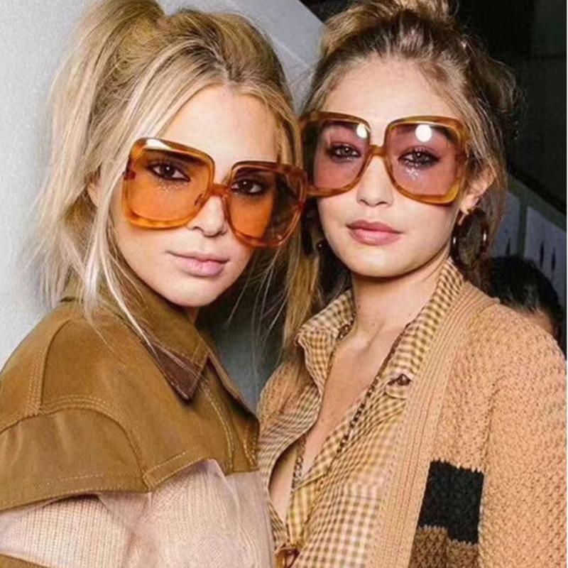 Marco Marca de gran tamaño Gafas de sol Vintage Glasses Designer de moda Plastic Sun Mujeres Sombras UV400 MUJER Lentes Gradient Sol Sisjl