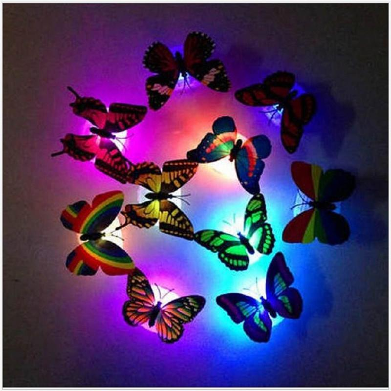 2020 Colorful RGB Butterfly night light LED night lamp Beautiful Home Decorative Wall Nightlights Color Random led lamp battery