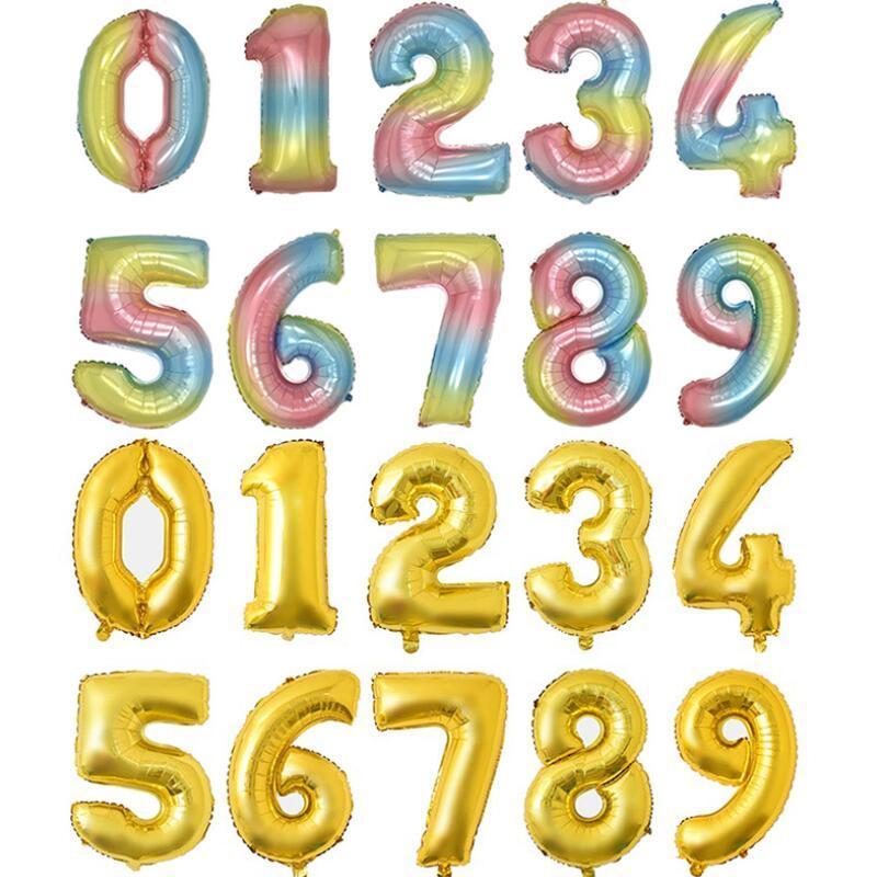 32 pouces Nombre d'anniversaire de ballon décorations de fête d'anniversaire couleur aluminium ballons de ballons de mariage maison de banquet de mariage NWE3141