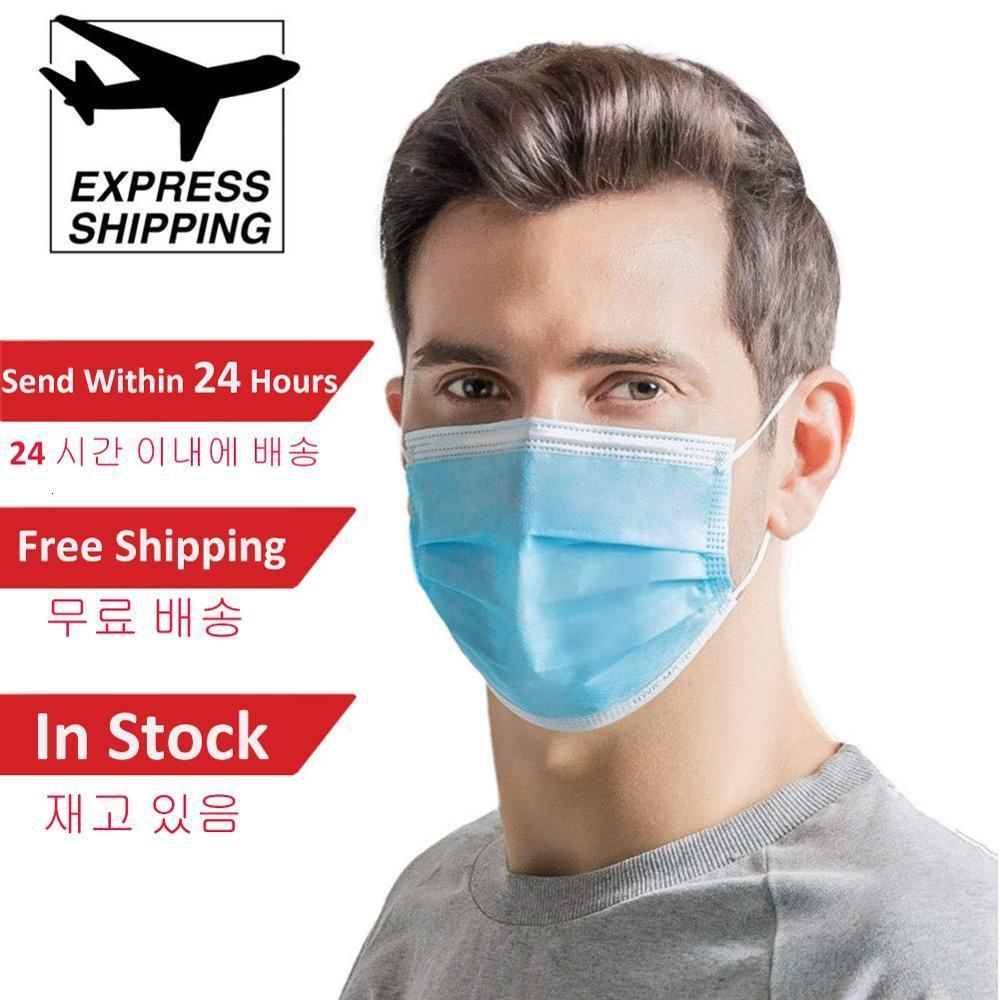llegar paquetes súper rápido 3-7 días mascarillas desechables Face gruesas máscaras de 3 capas con Earloops para el salón, uso del hogar cómodo máscara 006