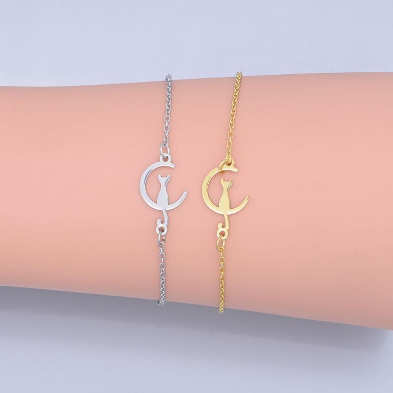 100% in acciaio inox Dainty Gatto sulla Luna del braccialetto di fascino per le donne all'ingrosso stupefacente qualità Dropshipping di qualità eccellente