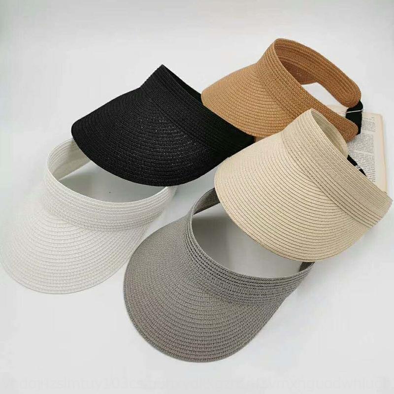 U44DQ 2020 novo verão chapéu de palha estilo coreano sol vazio palha proteção UV chapéu de sol das mulheres