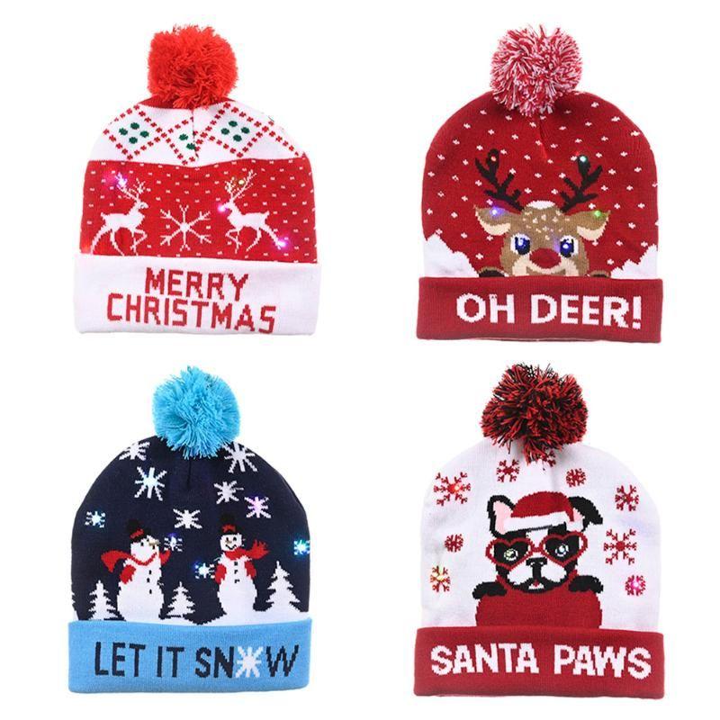 Светодиодные рождественские шапки Beanie свитер Вязаного Сант Hat для детей взрослого Xmas Party отдых Реквизит Украшение Один размера