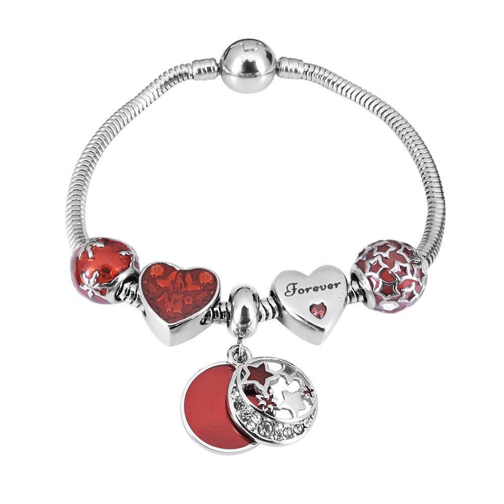 Braccialetto dell'acciaio inossidabile 316L di fascino custode Stelle perline ciondola i monili adatti DIY braccialetto d'argento di fascino europeo per il regalo ragazze Chistmas