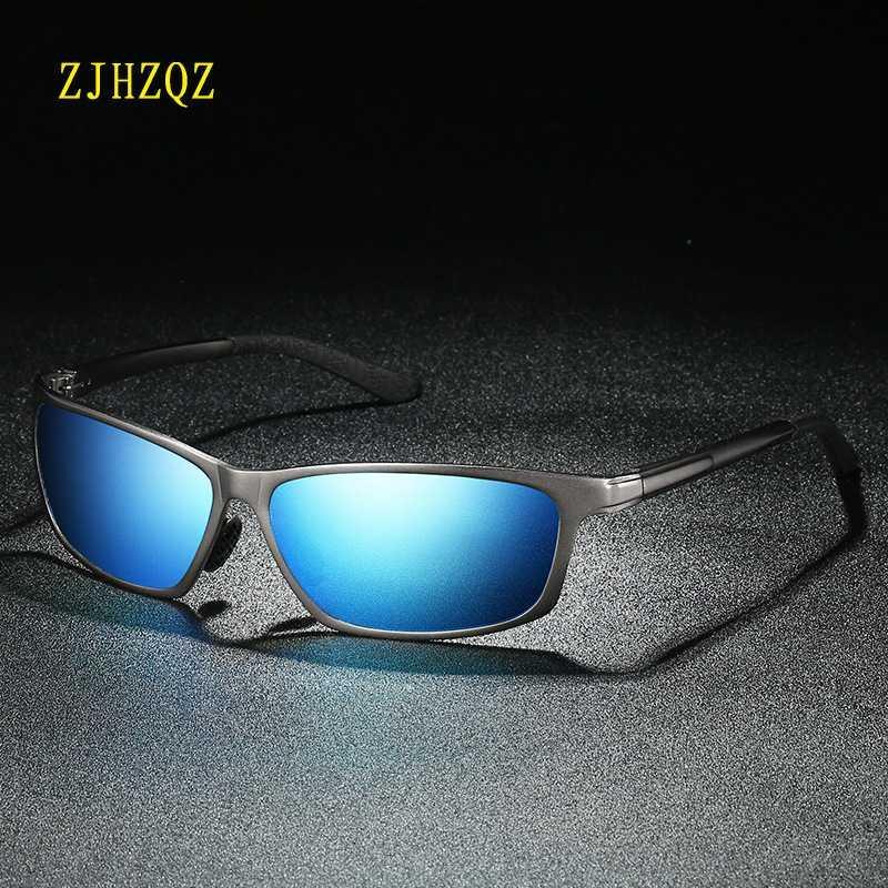ZJHZQZ Uomini Occhiali da sole polarizzati quadri per le donne Night Vision Goggles UV400 Driver Specchio Blu Rosso Nero lenti maschio metallo Oculos