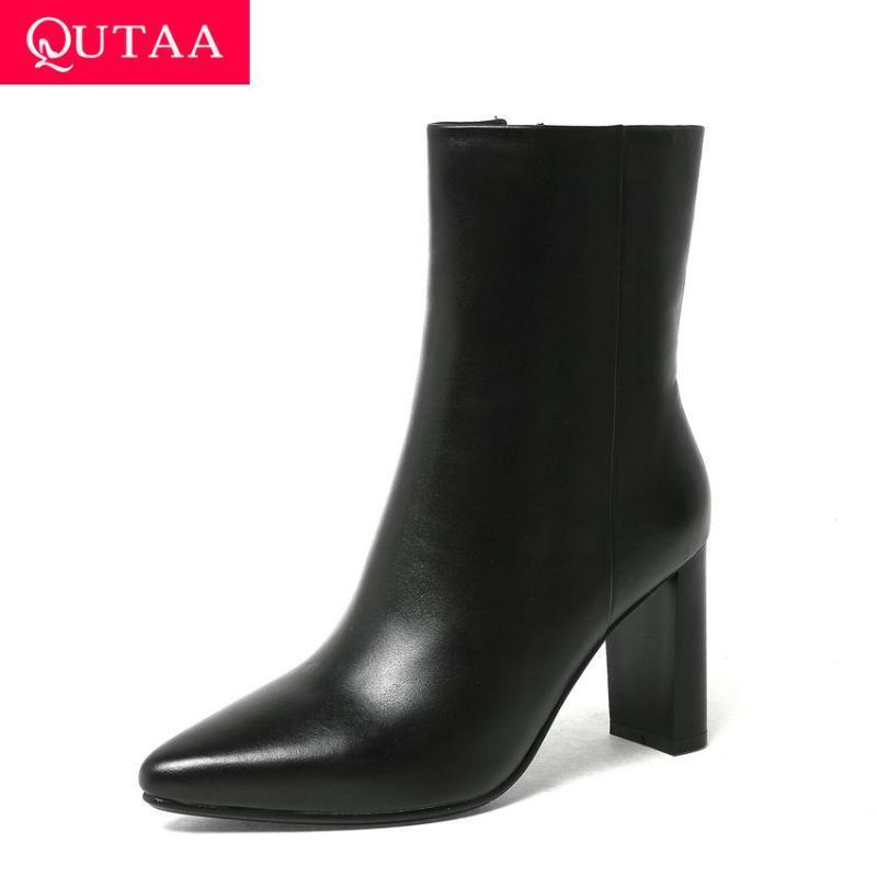 QUTAA 2020 Nouveau cuir véritable bout pointu sélectionl place talon haut Bottines Zipper Concise femmes courtes Bottes Taille 34-39
