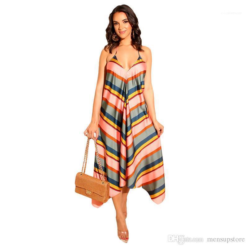 V-cuello de la correa de espagueti maxi largo vestidos de playa de las mujeres de vacaciones de verano vestido rayado