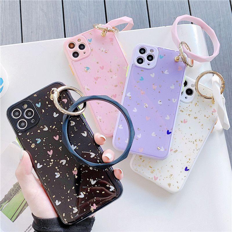 소녀 패션 귀여운 블링 사랑의 하트 팔찌 큰 원형 손 링 금박 케이스 커버 아이폰 X XR XS (11) 프로 MAX 7 8 플러스 SE
