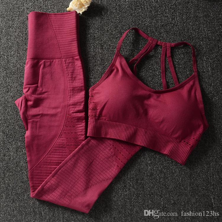 Kadınlar Gym Giyim Atletik Yoga Set36 için Kadınlar Spor Sütyen ve Tozluklar Set Sports Wear için Gym 2 Adet Set Egzersiz Giyim
