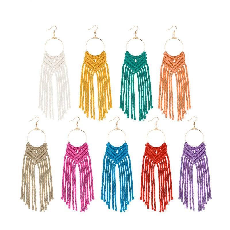 Yeni Geliş Vintage Örgü Tasarım Moda Kadınlar Küpe ile Strings Püsküller Kumaş Stil Saf Renkler Dangle Charms