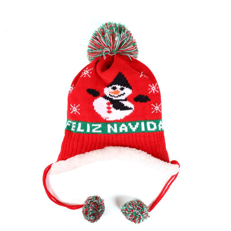 Children Baby Knit Hat Winter Warm Fleece Lined Beanies Letters Embroidery Beanies Kids Cap Christmas Ski Snow Hats Ear Muff Hats D91005