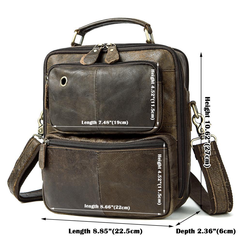 MVA Messenger Bag Mens cuoio genuino Borse Crossbody per gli uomini Vintage Mens borse in pelle uomo Maniglia-top Spalla Borse 8951
