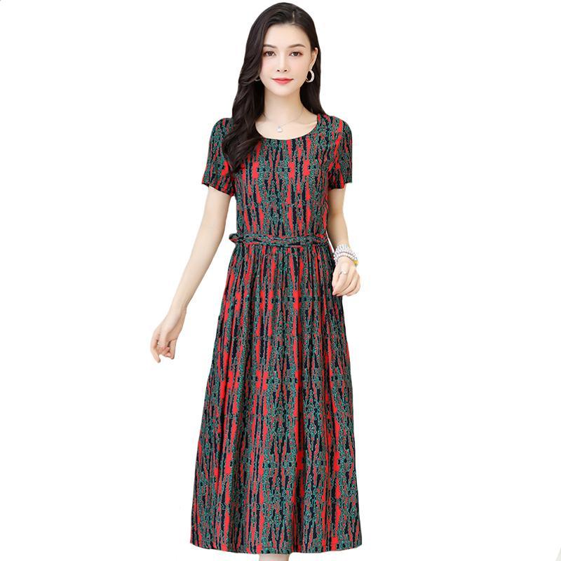 Casual Kleider XL-6XL 2021 Sommer langes Kleid Frauen Kurzarm Vintage Plus Größe Elegante Lose Boho Kleidung