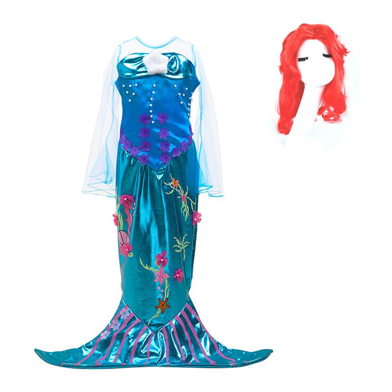 Girls Mermaid Ariel Dress Kids Christmas Carnival Fancy Costume Children Birthday Party Cosplay Clothes and Wig Accessories