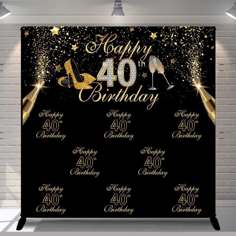 Vinyl Fotografia Sfondo Black Gold Glitter adulti di lusso Lady 40th Birthday Party Tacchi alti Decor contesto Photo Studio