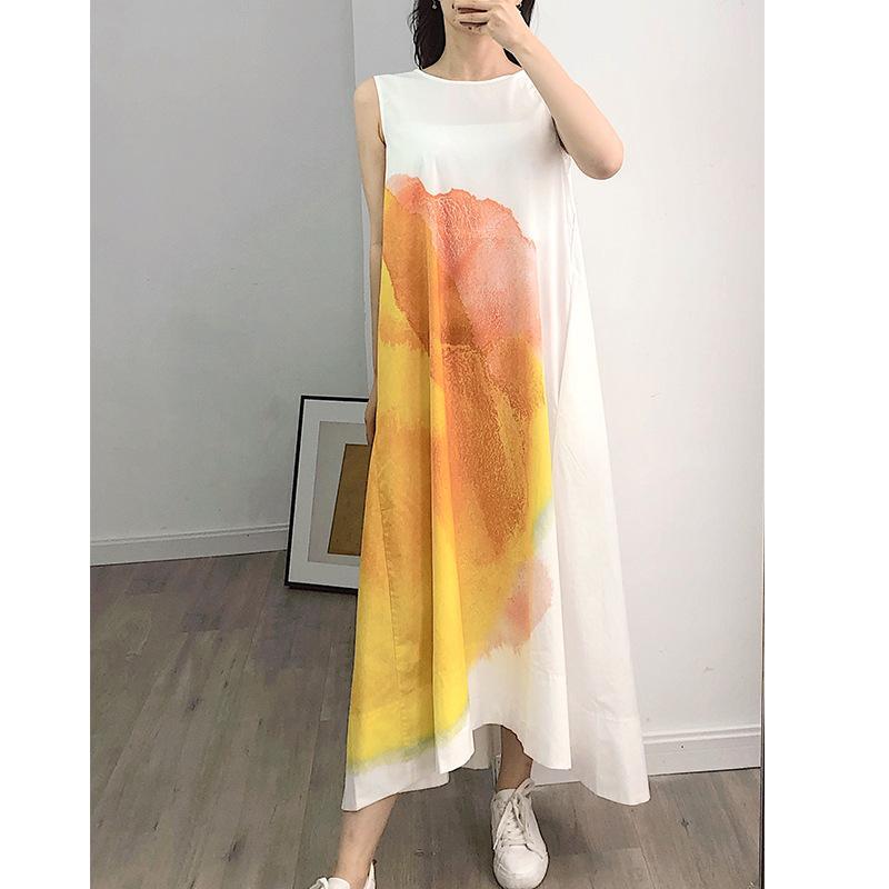 2020 femmes d'été en coton Midi Robe sans manches en vrac O-cou d'encre d'impression Femme Robes Casual avec poches